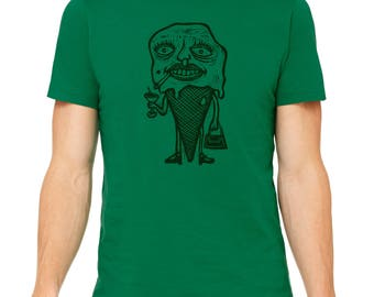 Ice Cream Cone Hand Carved   Woodblock Printed T Shirt