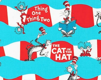 Dr Seuss, Cat in the Hat Funky Stripe, Red white and blue, by Robert Kaufman,  yard