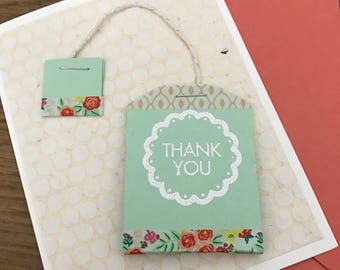 Handmade Adorable Tea Bag Thank You Card