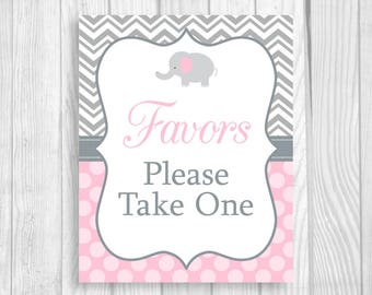 Favors Please Take One 8x10 Printable Elephant Baby Shower Sign in Gray Chevron and Light Pink Polka Dots - Instant Download