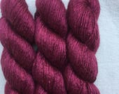 Silk Yarn - Hand Dyed Worsted weight Shade: Claret