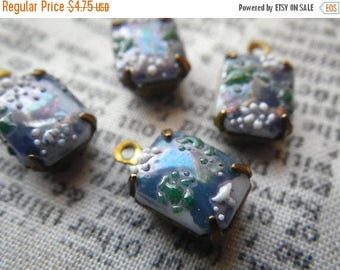 SALE 20% Off Steel Blue Cherry Blossom Vintage Textured Glass 10x8mm Brass Ox Drops 4 Pcs