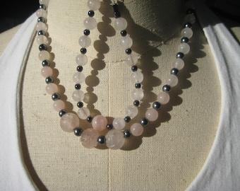 Necklace and Bracelet Set, Rose Quartz and Hemalyke, Work Wear
