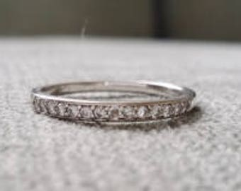 Upgraded Petite Diamond Wedding Band Ring Gemstone Engagement Ring Custom Cushion Round Halo Setting 14K White Gold size