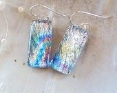 Dichroic Earrings, Blue, Silver, Dichroic Earrings, Glass Earrings, Dangle, Sterling Silver, A2