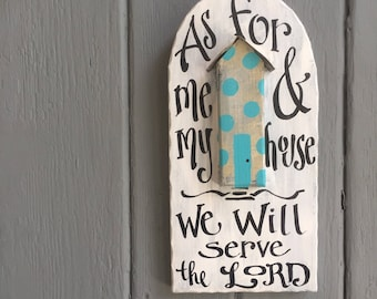 As for me and my house plaque - scripture - wedding gift - anniversary - home - housewarming