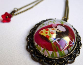 Short necklace, asleep in a flower RC001