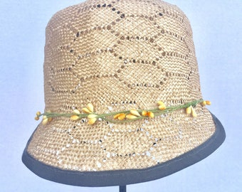 Straw Hat |  1920's style Hat | Straw Cap|Straw Baseball Hat | Millinery Cap | Desiger Hat