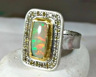 Opal ring, Multi stone ring, Gemstone Statement Ring, yellow Sapphire, opal and silver, 22 kt yellow gold ring, engagement ring