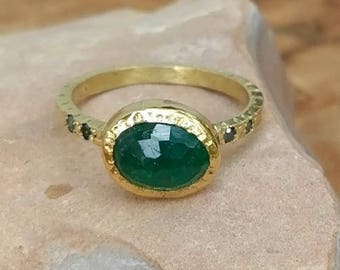 Emerald Ring, Emerald  and Diamond Engagement Ring, 3.2 carat Emerald and Diamond 18 kt solid gold   Solitaire Ring