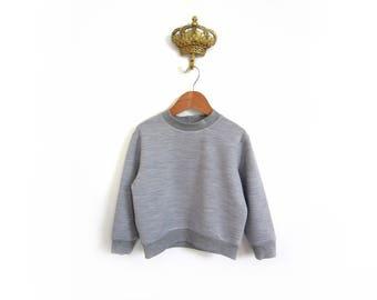 childs wool fleece sweatshirt, woollen fox grey jumper, boys & girls sweat top, baby kids winter jumper, grey wool jersey