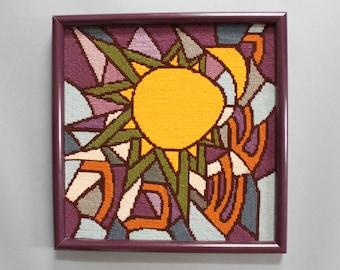 1970's Issachar Yissachar Hebrew Needlepoint Wall-Hanging Decor in Purple Frame, Jewish wall decor from Evanston, Illinois