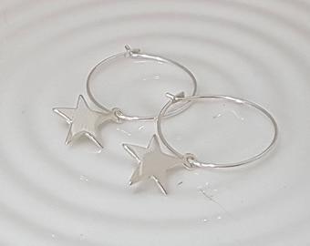 Sterling silver star earrings, silver star hoop earrings, celestial earrings, hoop earrings with star