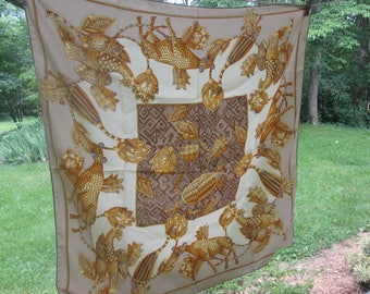 Large Vintage Silk Scarf - Italian Silk Scarf - 100% Silk - Made in Italy - Cream Gold Brown
