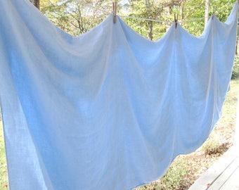 """Large Vintage Light Blue Tablecloth - Floral Cotton Damask Tablecloth and Twelve Napkins - Vintage Wedding - 64"""" by 96"""""""
