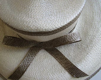 Eric Javits Ivory Khaki  Shiny Straw Hat  Wide Brim Sun Bridal Wedding Derby Church Easter