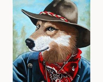 Colorado Cowboy Wolf animal anthropomorphic fantasy art painting