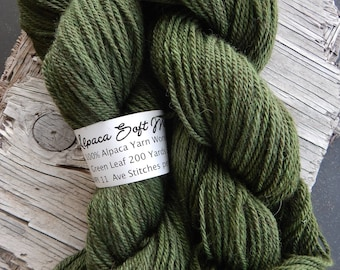 Alpaca Yarn Worsted Weight Green Leaf Hand Dyed Knitting Crocheting Weaving DIY Handmade