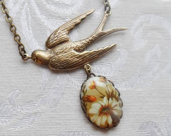 50% Off Sparrow Necklace with Vintage Cameo- Autumn Daisy