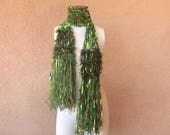 Green Scarf for Spring Scarf Spring Accessories Green Ribbon Scarf with Olive, Chartreuse, Emerald, Turquoise Teal Light Scarf with Fringe