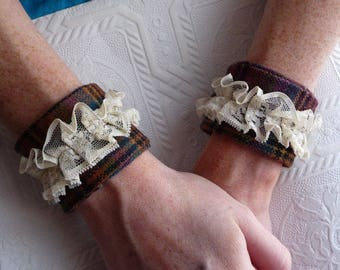 Wrist Cuff, Handmade Wrist Cuffs, Set of Two, Soft Vintage Fabric, Wool Fabric, Vintage Lace, Gold Vintage Buttons, Unique Bracelet, Gothic