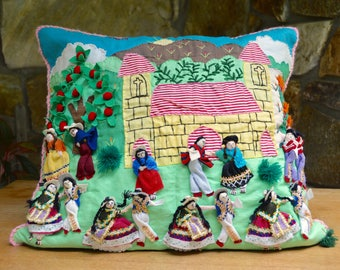 Amazing 3-dimensional hand-stitched pillow, Peruvian South American fiesta theme