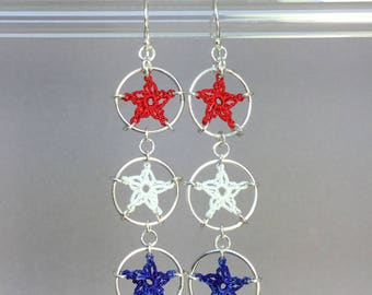 Stars, red white and blue silk earrings, sterling silver