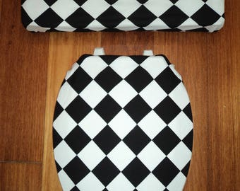 Black and White Diamond Toilet Seat Cover Set