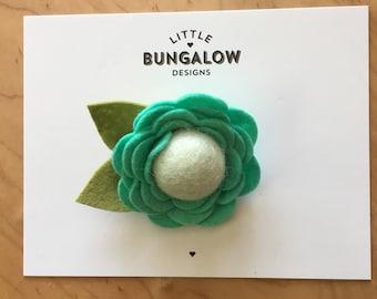 Mint Felt Flower Headband // Rose // Mini Flower Headband // Photo Prop // Flower Hair Clip // Nylon Headband