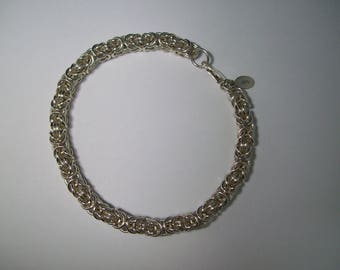 "7"" Sterling Silver (.925) Byzantine Bracelet with Lobster Claw Closure - Chainmaille"