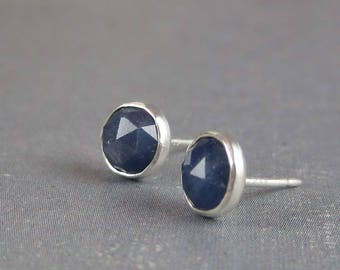 Natural sapphire stud earrings, blue sapphire earrings sterling silver, earth mined sapphire earrings, genuine blue sapphire post earrings