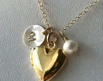 Gold Initial Girls Locket Necklace, Flower Girl Locket Necklace, Children Locket Necklace, Heart Locket Necklace, Little Locket Necklace