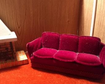 "Burgundy Velveteen Lundby Sofa 3/4"" Scale"
