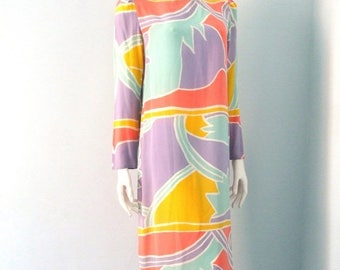Summer Sale Vintage 80s Silk Dress AbstractGraphic Pastel Pop Art Dress