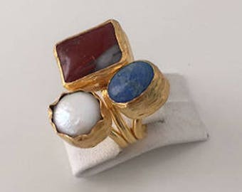 Triple Gold plated  Red Agate, Lapiz, Pearl  ring