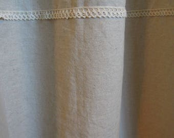 Ready-Made Oatmeal Linen Shower Curtain with Lace,  Bathroom, 72x72