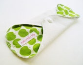 "9"" Bamboo French Terry Cloth Menstrual Pad, White Green Apple Granny Smith, Incontinence Pad, Bamboo Pad, Stain Resistant, Cloth Sanpro CSP"