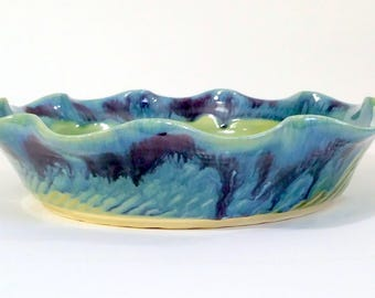 Fluted Pie Pan - Full Size Pie Pan  - Wheel Thrown Pottery - Green, Purple and Blue - Microwave, Dishwasher and Oven Safe