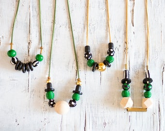 Green Necklace, Bold Statement Necklace, Chunky Beads Necklace, Modern Necklace, Green Black & white Necklace, Hand-made Beads Necklace