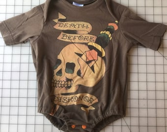 Upcycled Ed Hardy Death Before Dishonor Skull Tee Turned Into A 12 to 18 Month Onesie
