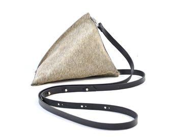 Celeste - Handmade Grey Hair On Hide Leather Shoulder Bag Purse