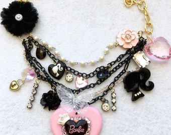 Simply Beautiful Barbie Mulit Chain Layered Statement Necklace