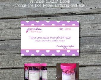 Doc McStuffins Prescription Label |Doctor Party | Doc McStuffins Birthday | Editable PDF | Digital Download | Instant Download | Purple Pink