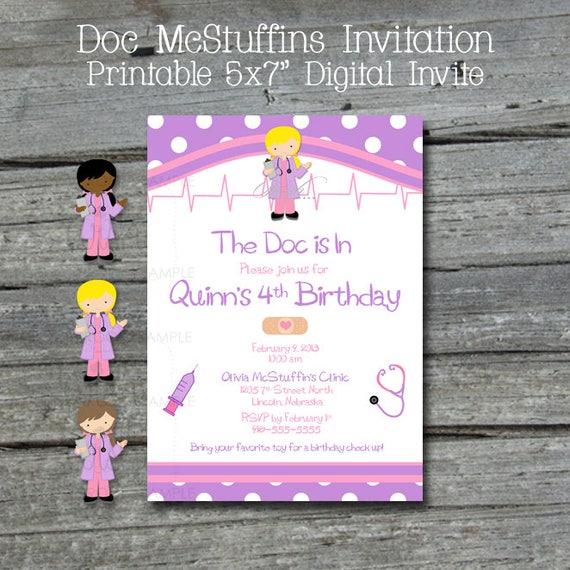 Doc McStuffins Printable Birthday Invitation   Doctor Party Invite   Blonde Brunette African American   5x7 digital download   Printable