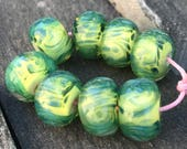Lampwork Beads - Boro Beads - Lime Green and Turquoise