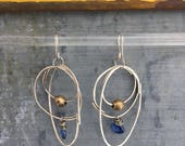 Rustic Overlap Earrings with Kyanite and African Brass Beads