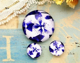 SALE - 30% OFF Purple blue Flowers Glass Cabochons, 8mm 10mm 12mm 14mm 16mm 18mm 20mm 25mm 30mm Photo Glass Dome - RCH011J