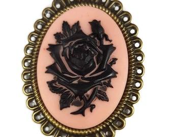 Black Rose Cameo Pin