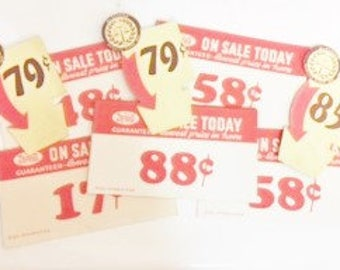 Vintage Grocery Store Pricing Tags  Red and White Shelf Pricing Tags and Small Carton Pricing Tags
