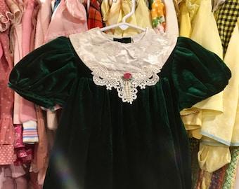 Green Velvet Dress Girls 5/6